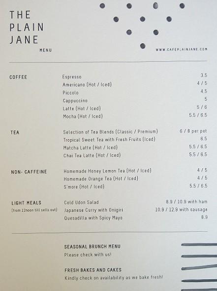 the plain jane menu