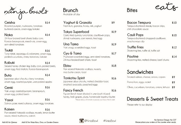 NINJA BOWL menu 1