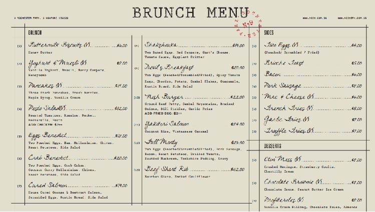 Noshery Cafe Brunch Menu